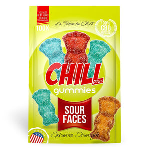 Chill Plus Gummies - CBD Infused Sour Faces [Edible Candy] - My CBD Mall
