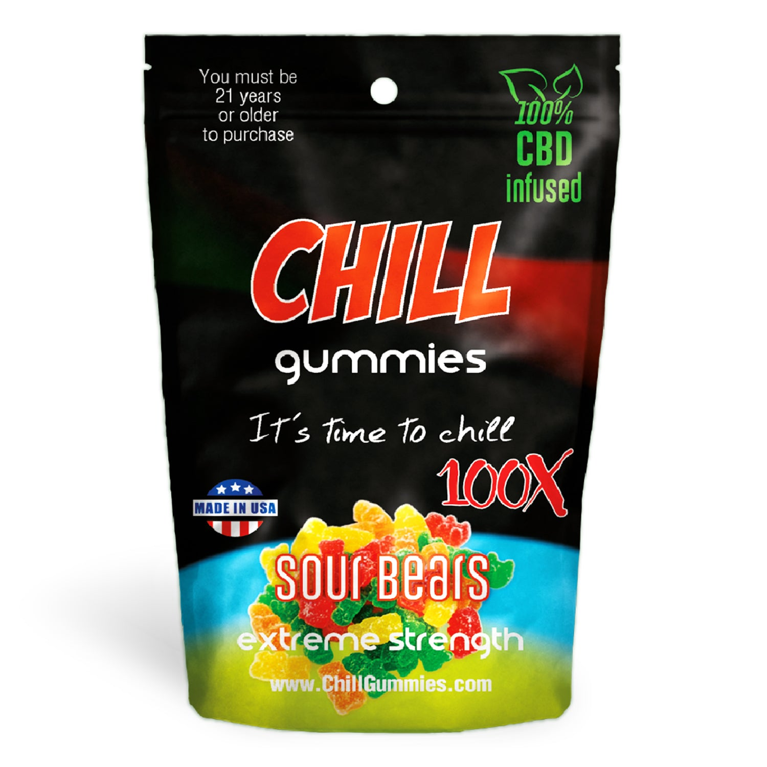 Chill Gummies - CBD Infused Sour Bears [Edible Candy] - My CBD Mall