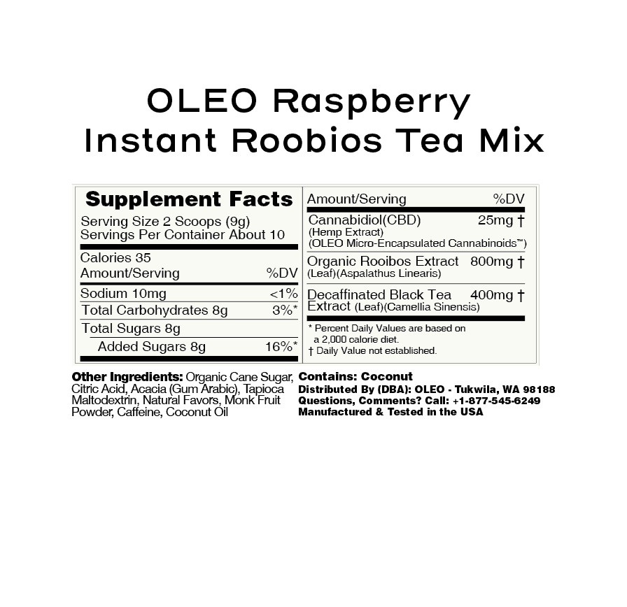 Raspberry CBD Rooibos Extract Tea Mix – OLEO - My CBD Mall