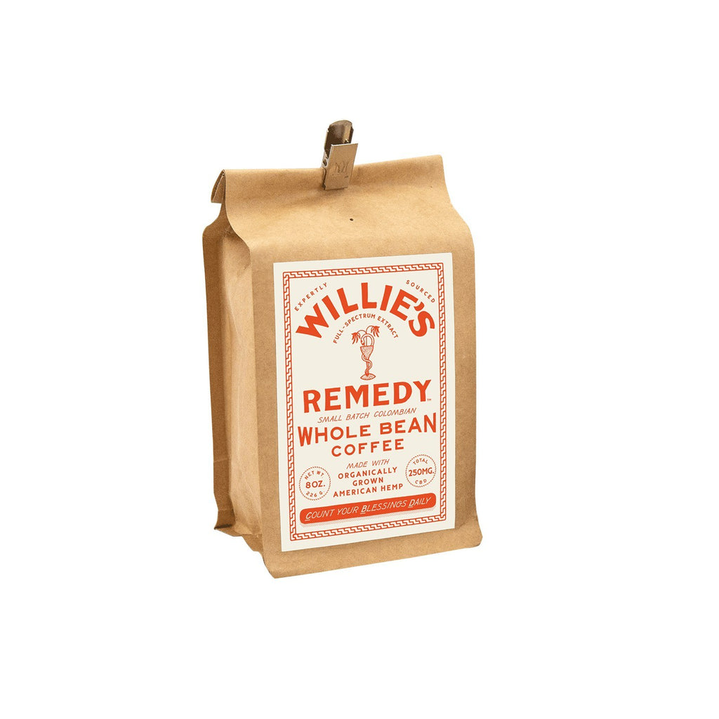Willie's Remedy 8oz Whole Bean Double Strength Coffee, 250MG CBD - My CBD Mall