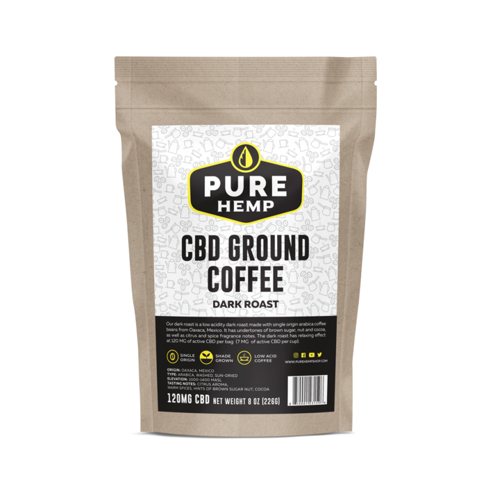 CBD Ground Coffee - Dark Roast - 120mg - My CBD Mall