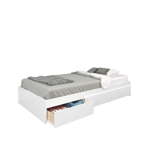 Twin Size Bed, 3-Drawer