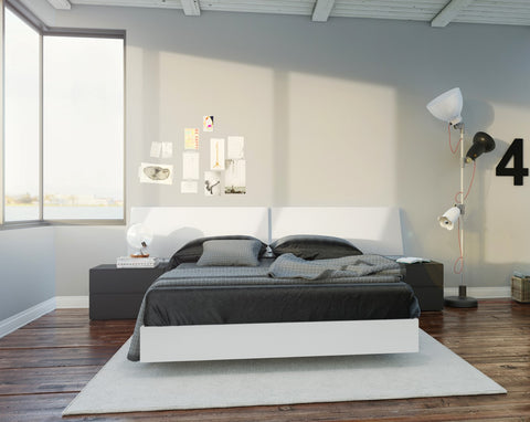 Melrose 4 Piece Full Size Bedroom Set, Black & White
