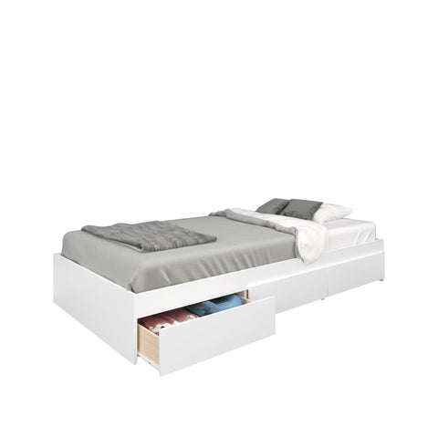 Blvd 2 Piece Twin Size Storage Bedroom Set, White