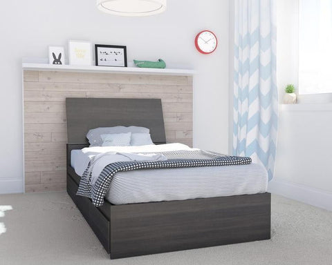 Allure 2 Piece Twin Size Storage Bedroom Set, Ebony Dark Grey