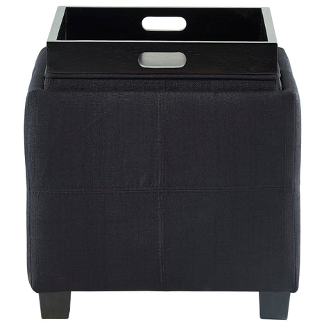 Luxy Square Storage Ottoman Black
