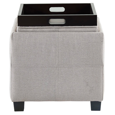 Luxy Square Storage Ottoman Light Grey