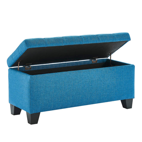 Lila Rectangular Storage Ottoman Blue
