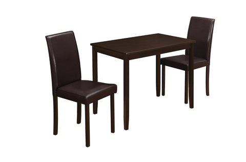 Carmela Dining Set - 3Pcs Set / Cappuccino / Brown Parson Chairs