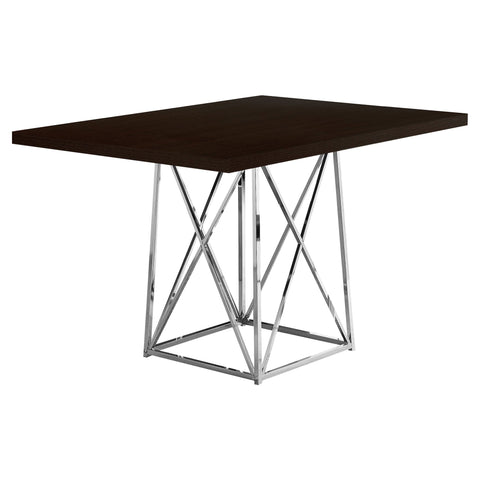 "Adela Dining Table - 36""X 48"" / Cappuccino / Chrome Metal"