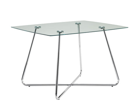 "Apolonia Dining Table - 40""Dia Chrome With 8Mm Tempered Glass"