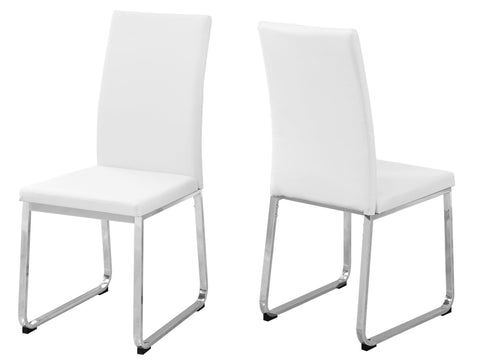 "Chia Dining Chair - 2Pcs / 38""H / White Leather-Look / Chrome"