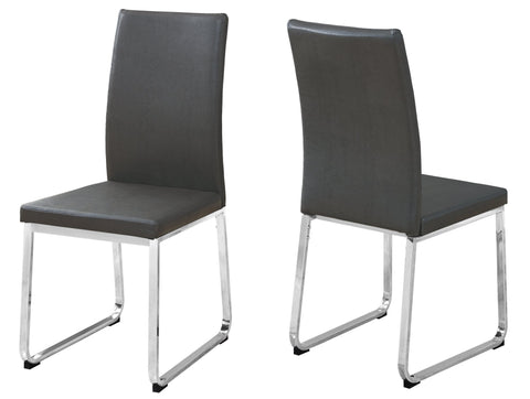 "Tennille Dining Chair - 2Pcs / 38""H / Grey Leather-Look / Chrome (4399739928628)"