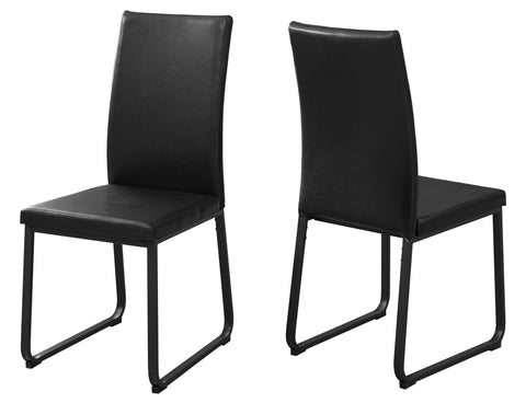 "Mattie Dining Chair - 2Pcs / 38""H / Black Leather-Look / Black"