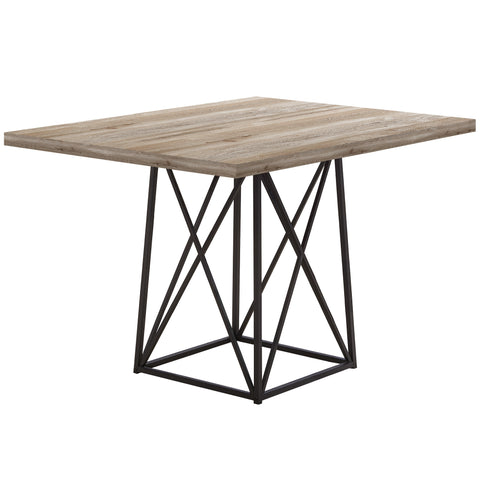 "Mercy Dining Table - 36""X 48"" / Taupe Reclaimed Wood-Look/Black"