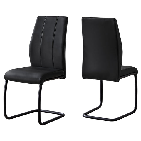 "Fe Dining Chair - 2Pcs / 39""H / Black Leather-Look / Metal (4399740977204)"