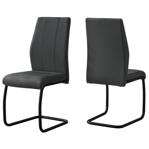 "Suzanna Dining Chair - 2Pcs / 39""H / Grey Leather-Look / Metal (4399741173812)"