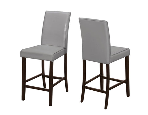 Rachelle Dining Chair - 2Pcs / Grey Leather-Look Counter Height (4399744909364)