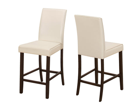 Bernetta Dining Chair - 2Pcs / Ivory Leather-Look Counter Height (4399745138740)