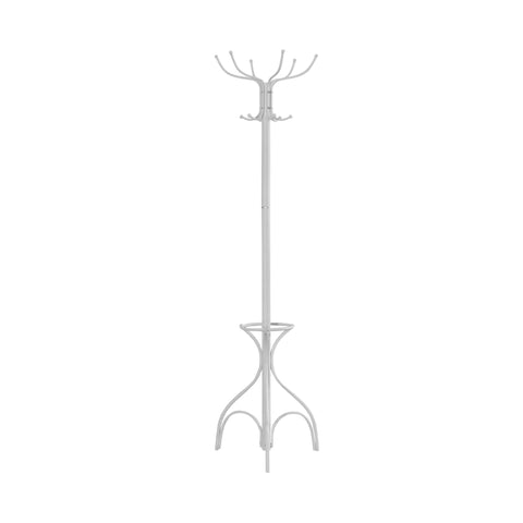 "Jeri Coat Rack - 70""H / White Metal With An Umbrella Holder (4405941370932)"
