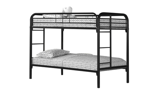 Delfina Bunk Bed - Twin / Twin Size / Black Metal