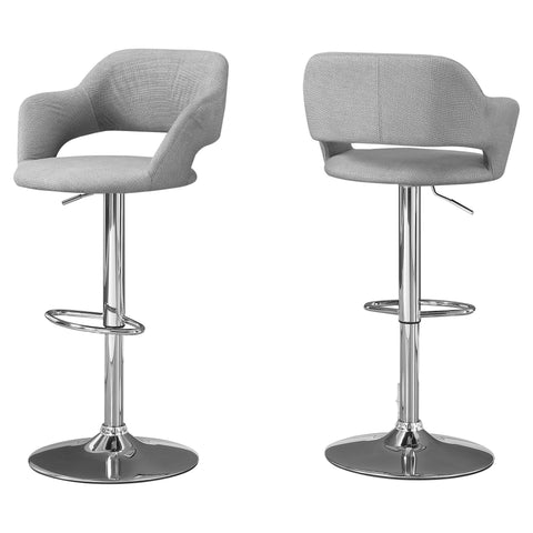 Ivonne Barstool - Grey Fabric / Chrome Metal Hydraulic Lift (4397447315508)