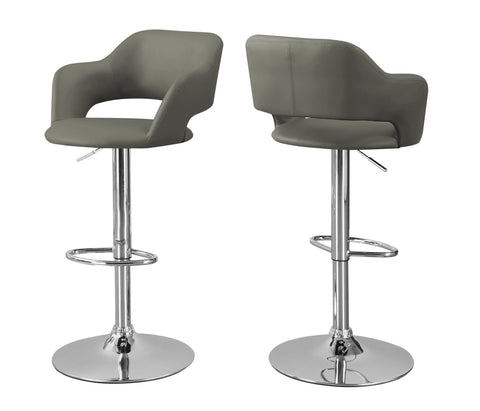 Russell Barstool - Light Grey / Chrome Metal Hydraulic Lift (4397447413812)