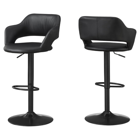 Madalene Barstool - Black / Black Metal Hydraulic Lift (4397448069172)
