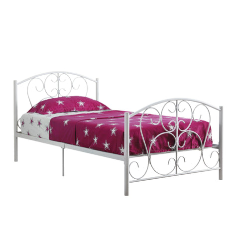 Evita Bed - Twin Size / White Metal Frame Only