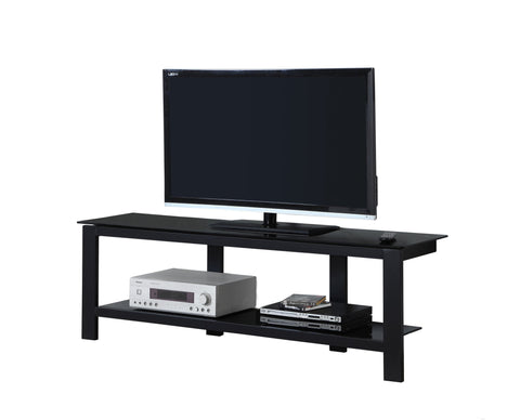 "Adrianne Tv Stand - 60""L / Black Metal With Black Tempered Glass (4399345893428)"
