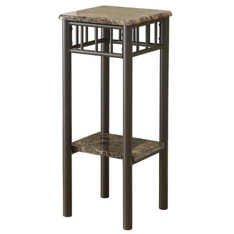 Yvette Accent Table - Cappuccino Marble / Bronze Metal (4391160774708)
