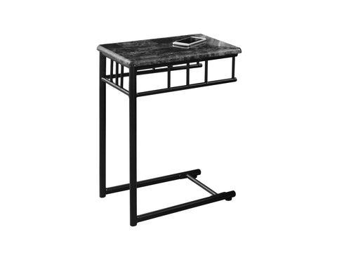 Karrie Accent Table - Grey Marble / Charcoal Metal