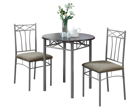 Polly Dining Set - 3Pcs Set / Cappuccino / Silver Metal (4407671128116)