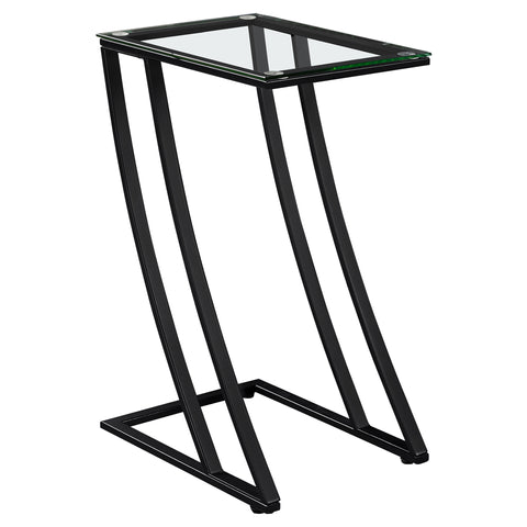 Sana Accent Table - Black Metal With Tempered Glass