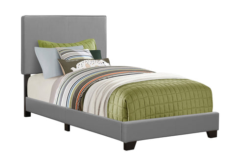 Edward Bed - Twin Size / Grey Leather-Look (4397504364596)