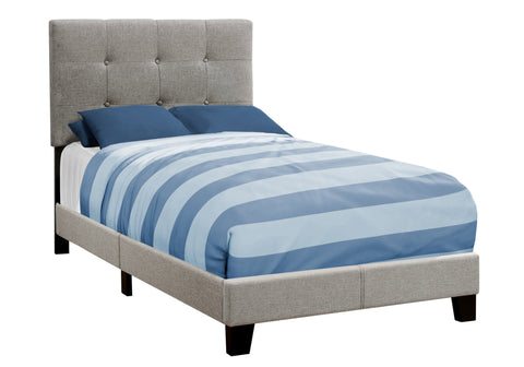 Jacquelynn Bed - Twin Size / Grey Linen (4397504561204)