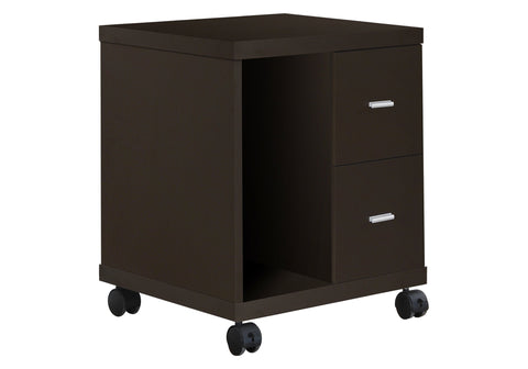 Niesha Office Cabinet - Cappuccino 2 Drawer On Castors