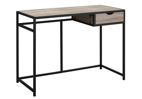 "Mireya Computer Desk - 42""L / Dark Taupe / Black Metal (4395928944692)"
