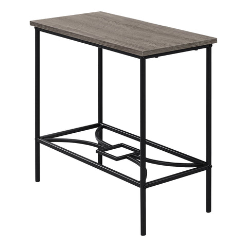 "Sherley Accent Table - 22""H / Dark Taupe / Black Metal"