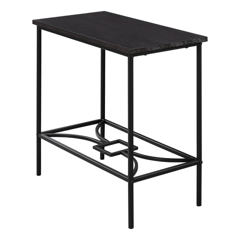 "Lorraine Accent Table - 22""H / Cappuccino / Black Metal"