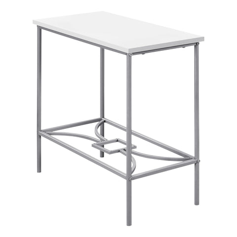 "Bonny Accent Table - 22""H / White / Silver Metal"