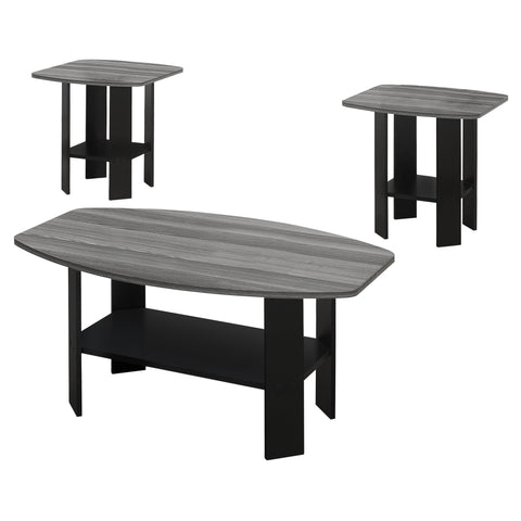 Elena Table Set - 3Pcs Set / Black / Grey Top