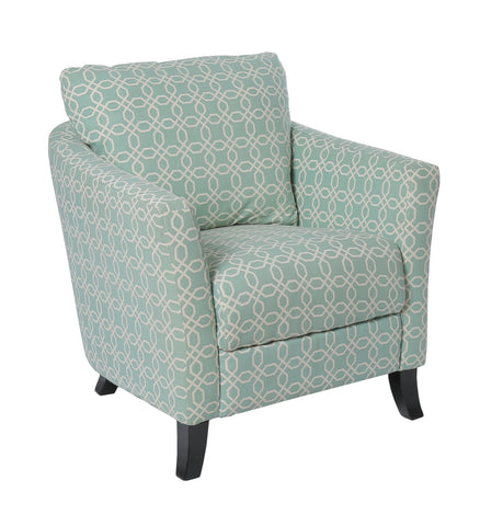 "Aaron Accent Chair - Faded Green "" Angled Kaleidoscope "" Fabric"