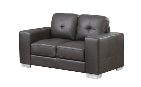Colette Love Seat - Dark Brown Bonded Leather (4405945565236)