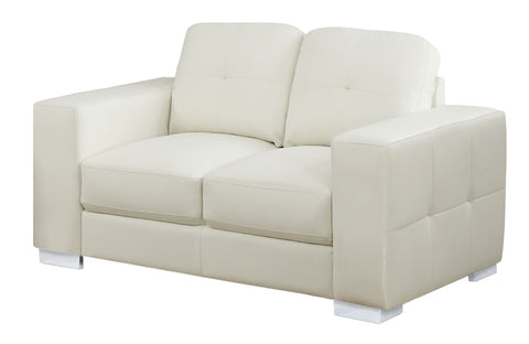 Josefina Love Seat - Ivory Bonded Leather (4405945892916)