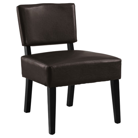Jeanne Accent Chair - Dark Brown Leather-Look Fabric (4391766655028)