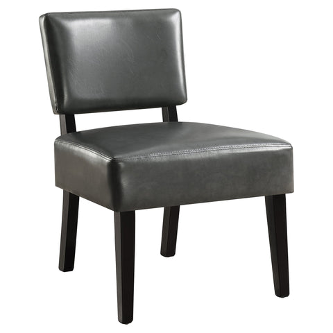 Gia Accent Chair - Charcoal Grey Leather-Look Fabric