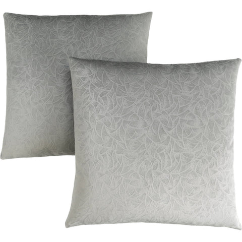 "Adela PILLOW - 18""X 18"" / LIGHT GREY FLORAL VELVET / 2PCS (4437364867124)"