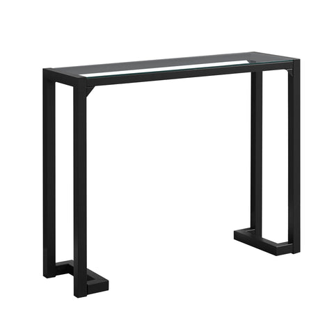 "Adeline Accent Table - 42""L / Black / Tempered Glass Hall Console"