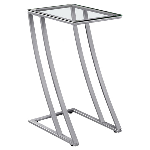 Cleta Accent Table - Silver Metal With Tempered Glass